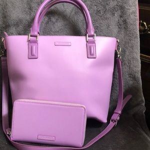 Vera Bradley Leather Lilac Tote& Wallet